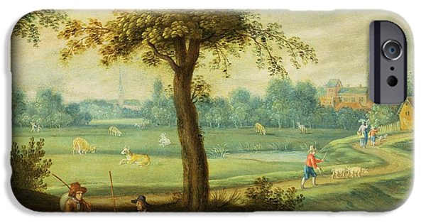 Basket iPhone Cases - A Village Landscape By A River Oil iPhone Case by Isaak van Oosten