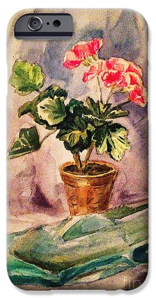 Flower Of Life iPhone Cases - A Vintage Geranium Pot iPhone Case by Irina Sztukowski