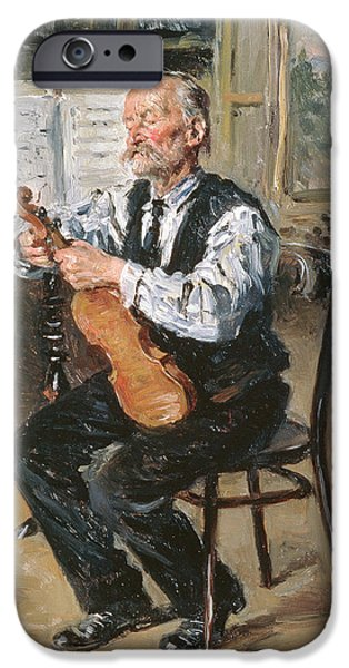 Sheets iPhone Cases - A Violin Maker, 1914 Oil On Panel iPhone Case by Vladimir Egorovic Makovsky