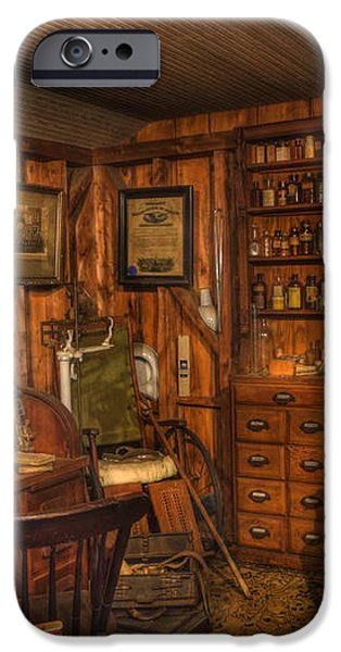 A Visit to the Doctor's Office - Old Time Physician Office - Doctors - Pharmacists - Opticians iPhone Case by Lee Dos Santos