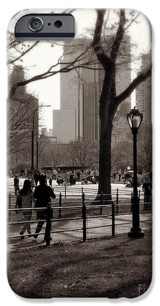 Springtime In The Park iPhone Cases - A Walk in Central Park - Antique Appeal iPhone Case by Miriam Danar