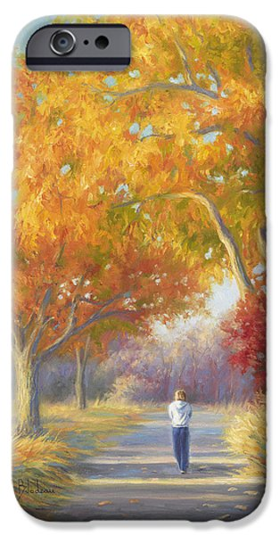 Fall Grass iPhone Cases - A Walk In The Fall iPhone Case by Lucie Bilodeau