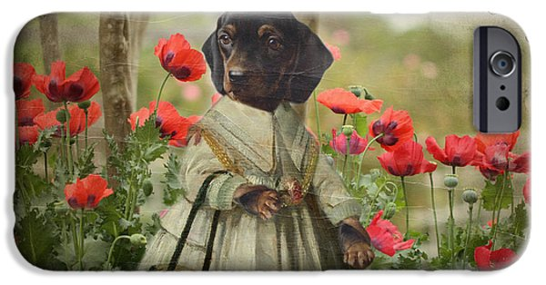 Puppies Digital iPhone Cases - A Walk in the Garden iPhone Case by Terry Fleckney