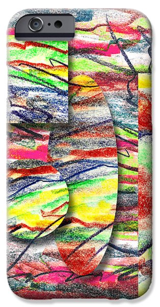 Abstractions Drawings iPhone Cases - A Walk in the Park  iPhone Case by Peter Piatt
