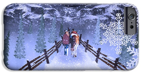 Snowy Night iPhone Cases - A Walk in the Snow 2 iPhone Case by Mechala  Matthews