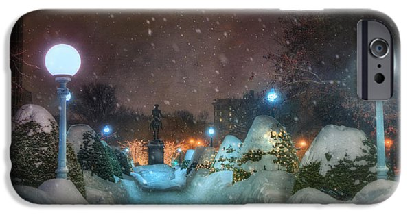 New England Snow Scene iPhone Cases - A Walk in the Snow - Boston Public Garden iPhone Case by Joann Vitali