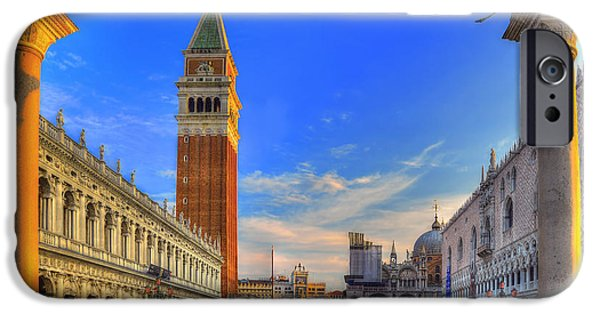 Piazza San Marco iPhone Cases - A walk in Time iPhone Case by Midori Chan