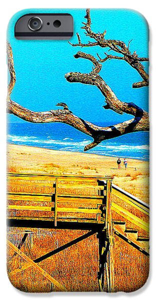 A walk on Atlantic Beach iPhone Case by Mj Carbo