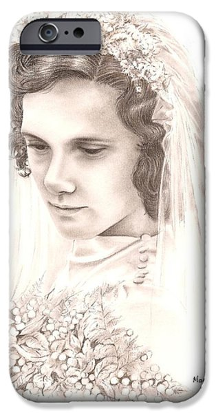 Contemplative Drawings iPhone Cases - A war bride iPhone Case by Manon  Massari