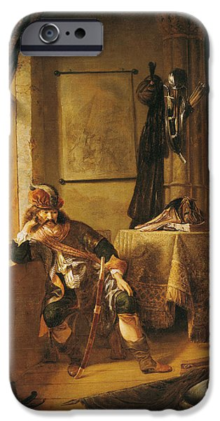 Thinking iPhone Cases - A Warrior In Thought Oil On Canvas iPhone Case by Rembrandt Harmensz. van Rijn