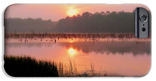 Rucker iPhone Cases - A Wetlands Sunrise iPhone Case by JC Findley