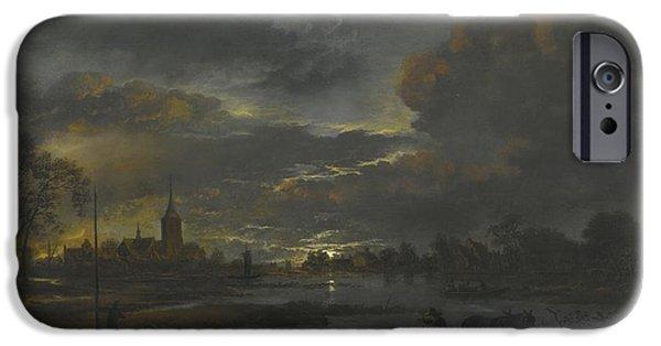 Landscape With Figure iPhone Cases - A Wide Moonlit River Landscape iPhone Case by Aert Van Der Neer