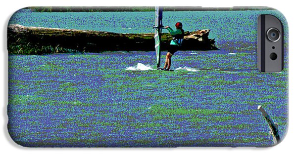 Wind Surfing Art iPhone Cases - A Wind Surf Holiday iPhone Case by Joseph Coulombe