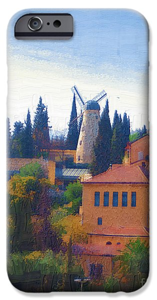 Grist Mill iPhone Cases - A Windmill in Jerusalem iPhone Case by Rick Black