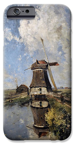 19th Century Photographs iPhone Cases - A Windmill On A Polder Waterway, Known As In The Month Of July, C. 1889, By Paul Joseph Constantin iPhone Case by Bridgeman Images