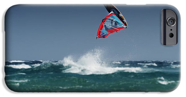 Windsurfer iPhone Cases - A Windsurfer Flips Upside Down Above iPhone Case by Ben Welsh
