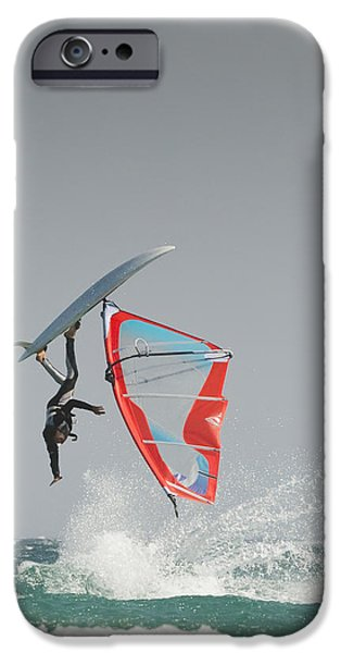 Windsurfer iPhone Cases - A Windsurfer Flips Upside Down On The iPhone Case by Ben Welsh