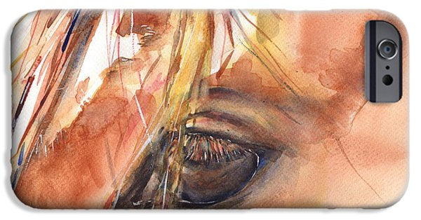 Art Of Horses iPhone Cases - Horse Eye Painting A Wink of the Eye iPhone Case by Maria