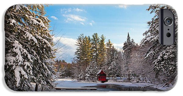 Snowy Day iPhone Cases - A Winter Day at the Red Boathouse iPhone Case by David Patterson