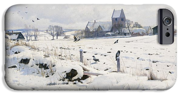 Snowy Day iPhone Cases - A Winter Landscape Holmstrup iPhone Case by Peder Monsted
