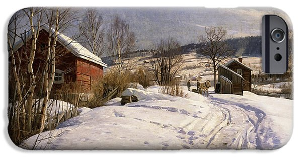 Snowy Day iPhone Cases - A Winter Landscape Lillehammer iPhone Case by Peder Monsted