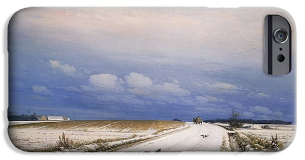 Horizon Over Land iPhone Cases - A Winter Landscape with a Horse and Cart iPhone Case by Anders Andersen-Lundby