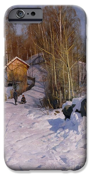 Snowy Day Paintings iPhone Cases - A Winter Landscape with Children Sledging iPhone Case by Peder Monsted