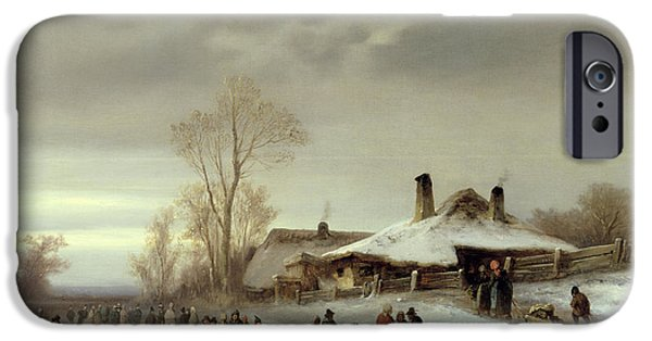 Ice-skating iPhone Cases - A Winter Landscape with Skaters iPhone Case by Anton Doll
