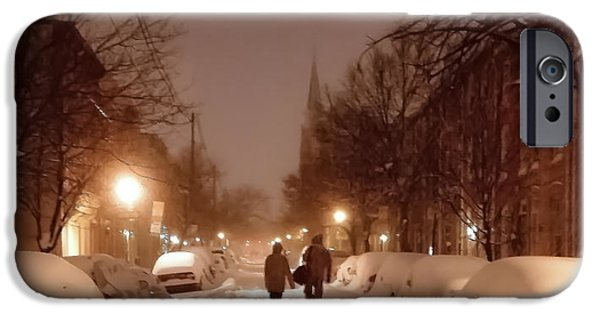 Snowy Night iPhone Cases - A Winter Night on Riverside iPhone Case by SCB Captures