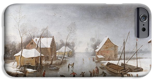 Flemish iPhone Cases - A Winter River Landscape iPhone Case by Jan Wildens