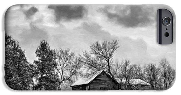 Winter Storm Digital iPhone Cases - A Winter Sky - Paint bw iPhone Case by Steve Harrington