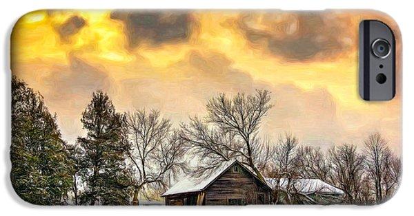 Winter Storm Digital iPhone Cases - A Winter Sky - Paint iPhone Case by Steve Harrington