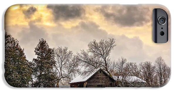 Winter Storm Digital iPhone Cases - A Winter Sky iPhone Case by Steve Harrington