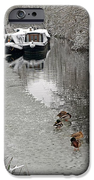 Wintertime iPhone Cases - A Winters Day on the River iPhone Case by Gill Billington