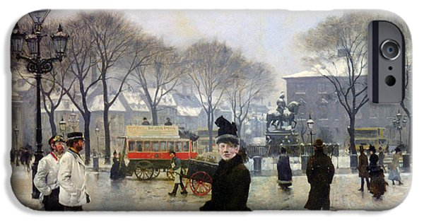 Horse And Buggy iPhone Cases - A Winters Day iPhone Case by Paul Gustav Fischer