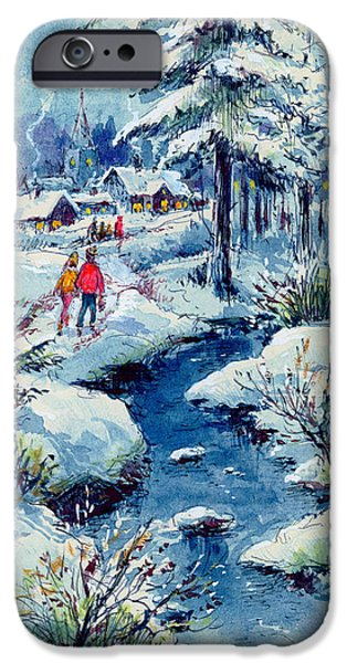 Winter Scene iPhone Cases - A Winters Scene, 1972 Gouache, Pen And Ink On Paper iPhone Case by Stanley Cooke