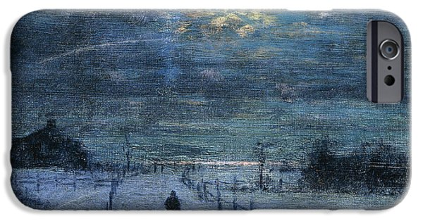 Snowy Evening iPhone Cases - A Wintry Walk iPhone Case by Lowell Birge Harrison