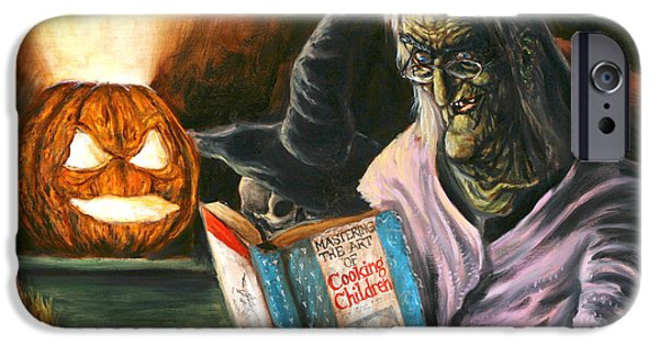 Cookbook Paintings iPhone Cases - A Witch Reading iPhone Case by Mark Tavares