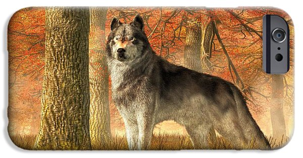 Loup iPhone Cases - A Wolf in Autumn iPhone Case by Daniel Eskridge