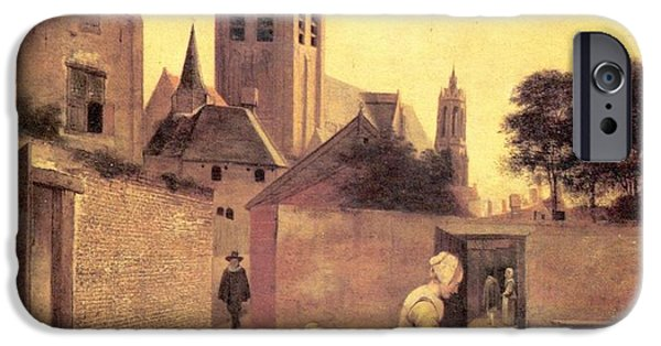 Domestic Scene iPhone Cases - A woman and a child on a Bleichwiese iPhone Case by Pieter de Hooch