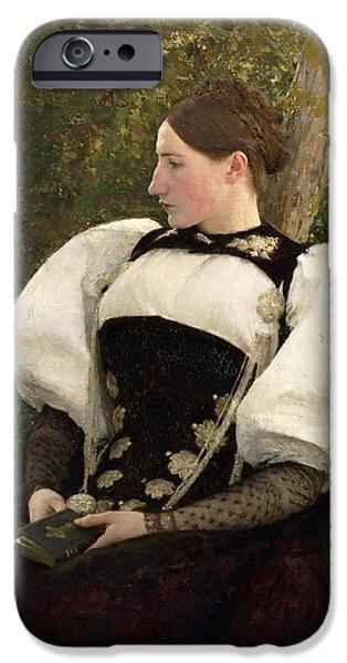 Switzerland Paintings iPhone Cases - A Woman from Bern. Switzerland iPhone Case by Pascal-Adolphe-Jean Dagnan-Bouveret