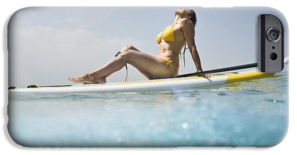 35-39 Years iPhone Cases - A Woman In A Yellow Bikini Sits iPhone Case by Ben Welsh