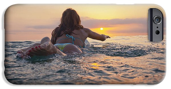 Luz iPhone Cases - A Woman Laying On A Surfboard Watching iPhone Case by Ben Welsh