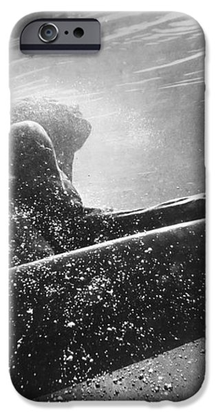 A Woman On A Surfboard Under The Water iPhone Case by Ben Welsh