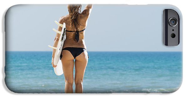 Luz iPhone Cases - A Woman Wearing A Black Bikini Stands iPhone Case by Ben Welsh