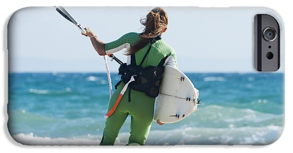 35-39 Years iPhone Cases - A Woman With Her Kitesurfing Board iPhone Case by Ben Welsh