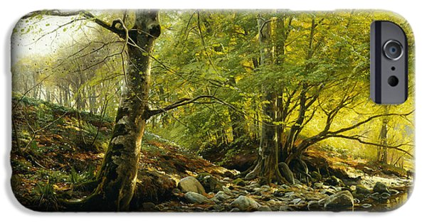 Reflecting Water Paintings iPhone Cases - A Wooded River Landscape iPhone Case by Peder Monsted