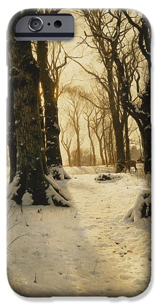 Snowy Day Paintings iPhone Cases - A Wooded Winter Landscape with Deer iPhone Case by Peder Monsted