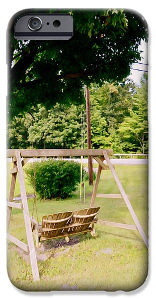 Empty Chairs Paintings iPhone Cases - A wooden swing under the tree iPhone Case by Lanjee Chee
