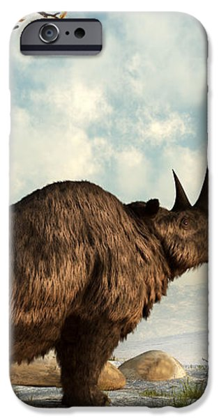 A Woolly Rhinoceros Trudges iPhone Case by Daniel Eskridge
